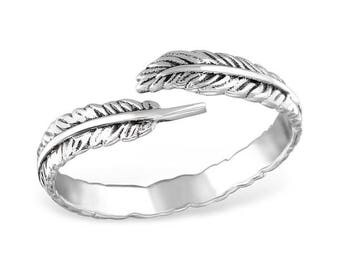 Sterling Silver Open Leaf Ring, Jagged band, Oxidized, Free size
