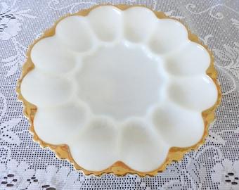Vintage Deviled Egg Platter/ Serving Plate / White Milk Glass / Scallop Edge / Deviled Egg Serving Dish / Serving Tray / ALifetimeofVintage