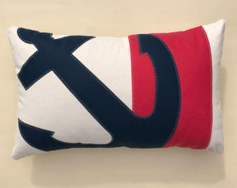 Navy Blue Anchor Striped pillow, red stripe, coral red, cape cod, nautical decor, beach house, coastal home decor, The Salty Cottage