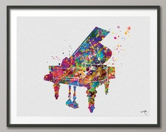 Piano Watercolor Print Music Instrument Wall Art Poster Music Piano Art Gift Piano Wall Decor Home Decor Pianist Gift Nerdy Wall Art-1094