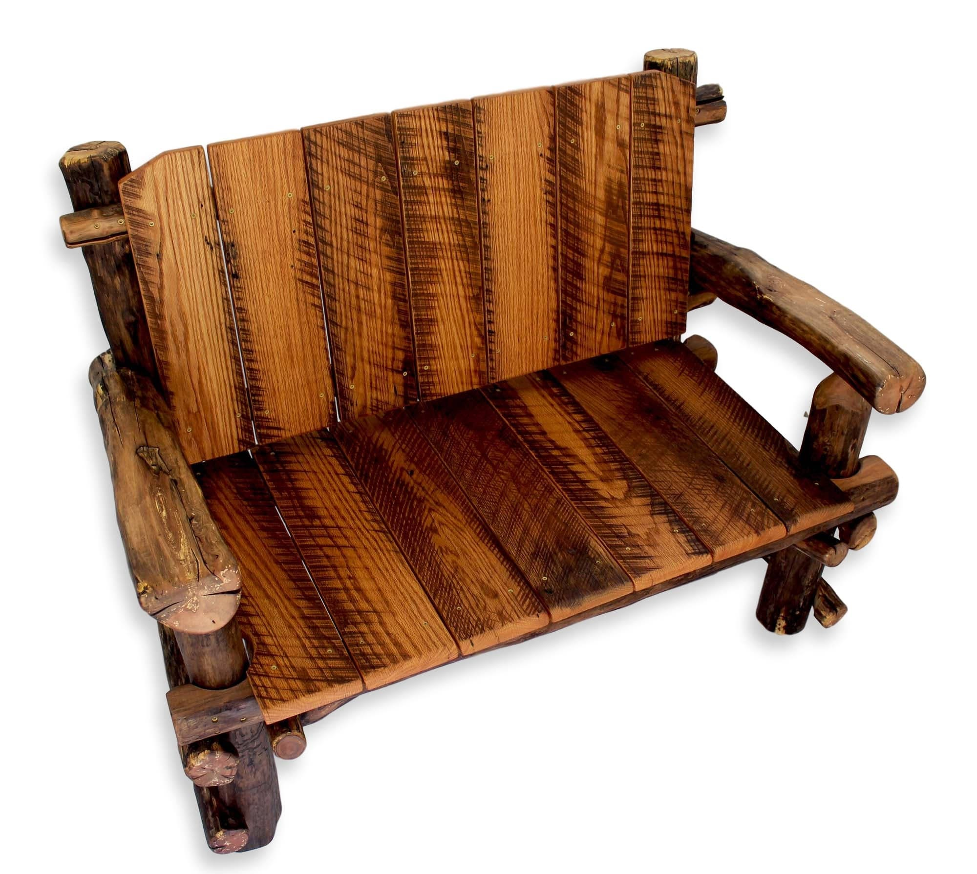 Rustic wood bench reclaimed wooden log