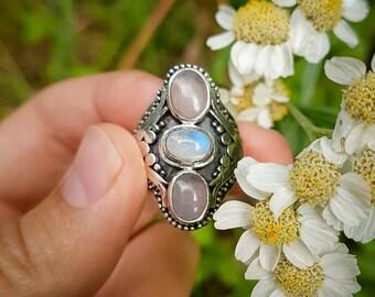 Alice Rose Quartz and Moonstone Ring