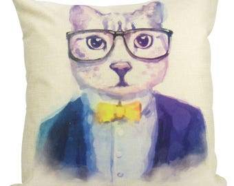 Hipster Cat - Pillow Cover