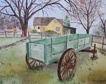 "original watercolor painting, painting of farm wagon. 14.5'w x 10.5""h, ""GREEN AND FUN"",Peter Kundra, farm painting, art show, green wagon"
