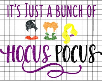 SAMPLE SALE: Hocus Pocus embroidered shirt, MNSSHP embroidered witch shirt, It's just a bunch of Hocus Pocus embroidered Halloween shirt.