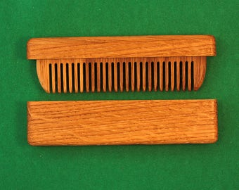 Oak comb in a case