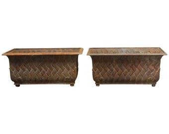 Pair of English Cast Iron Rectangular Jardinieres or Planters