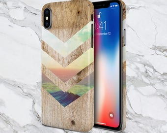 Phone Case - iPhone X Case - iPhone 8 Plus Case - Protective iPhone Case - Samsung Galaxy s8 Plus - Nature  - California Skies - Ocean Wood