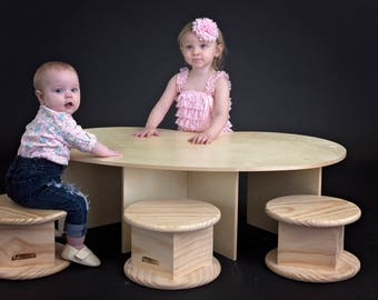 Toddler Table with 2 Stools - Kidney Bean Shaped - Addl Stools Available