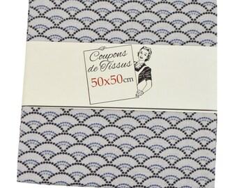"Cut of fabric 100% cotton ""Koï linen"" 50cm X 50 cm"