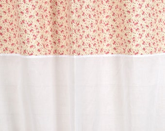 "Curtain ""LILI flowers"" 150 X 250 with lace and sheer white"