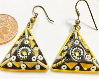Tribal style triangular shaped hook earrings