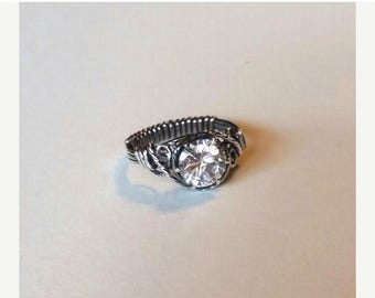 JULY SALE Diamond White Lab created CZ solitaire is 8mm round cut, equal to 2 ct in diamond, wrapped in sterling silver with an antique fini