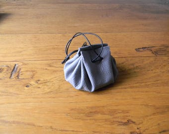 Grey leather purse handmade