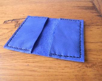 Leather pocket for cards CB color blue