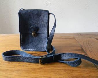 Navy blue leather shoulder bag