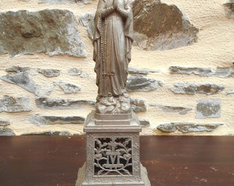 Vintage French Religious Silver Spelter Statue or Figurine of Holy Mary