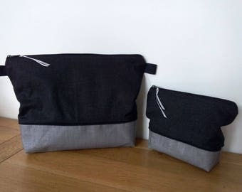 Toilet bag duo printed black finely dark grey spotted with or without handle