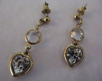 Vintage Swarovski Crystal Bezel Heart Earrings