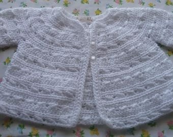 White Baby Sweater, 9-12 Month Size Baby Cardigan, White Knitted Baby Sweater, Knit Baby Jumper, HandMade Baby Sweater, HandKnit Baby Jumper