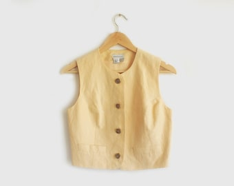 vintage yellow cropped button up