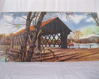 "1960's COVERED BRIDGE Signed MURRAY Litho Print River 24""x12"" Kitch Vintage"