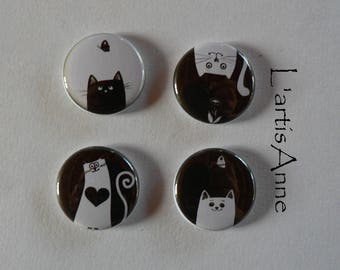 Black Cat Badges or magnets-magnets and 2 white.