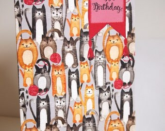 Knitting Happy Birthday Greeting Card. Matte finish card stock. 5X7 w/ white envelope. Gift for knitters, crocheters, yarn and cat lovers.