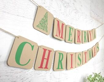 Merry Christmas banner, christmas decor, christmas party decor, holiday banner, christmas mantle decor