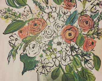 Custom Wedding Bouqet Painting