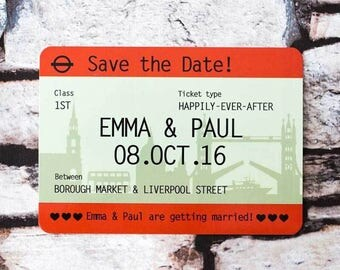 London Train Ticket Save the Date SAMPLE