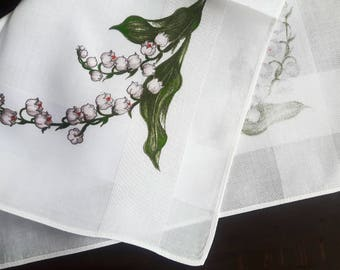 White cotton vintage handkerchiefs with lily of the valley