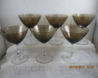 Champagne or Tall Sherbet Glass  ~ Smoke Color ~ Bryce Bros. REDUCED