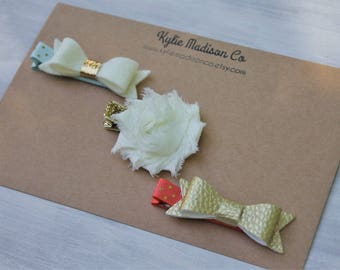 coral, gold and mint petite hair bow clip set of 3, baby hair clips