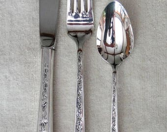 3pc Place Setting of Rogers Bros. SILVER LACE Pattern Silver Plate Flatware-Vintage 1968