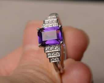 February Birthstone Natural Amethyst Ring Wedding Ring Emerald Cut Purple Gemstone Sterling Silver Ring