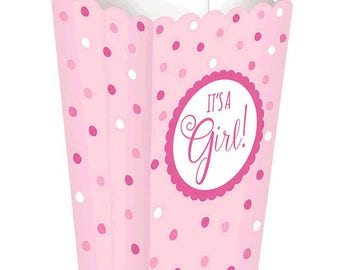 Set Of 20 It's A Girl Baby Shower Popcorn Boxes - Pink Polka Dot Print - Great For Popcorn & Candy Buffet Bar And Favor Boxes!