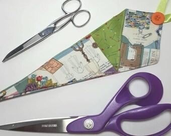 Scissor Pouch Scissor Keeper Pins Dressmaking Vintage Pattern Craft Crafter Hairdresser Gift Kitchen Doublesided