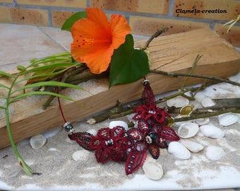 Bobbin lace necklace, pearls, rhinestones