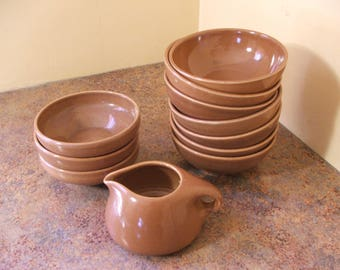 Eleven (11) Pieces of Vintage 1950s Russel Wright Iroquois Casual in Nutmeg