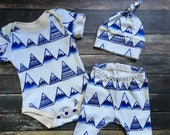 Organic Baby Outfit - Blue Mountains, natural baby clothes, neutral baby outfit, organic modern baby, organic going home, outdoor baby