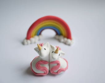 Pink Unicorn Wedding Cake Topper (With or Without Rainbow)