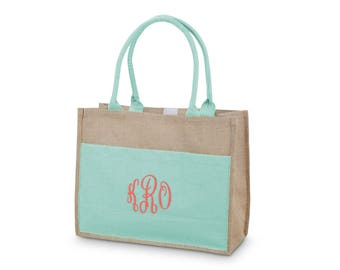 Monogram Jute Tote Burlap Bag,Buckhead Bettie, Bridesmaid Gift, Sorority