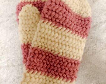 Beige and pink needlebound winter mittens size XS