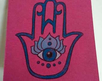 Hamsa notebook, pink