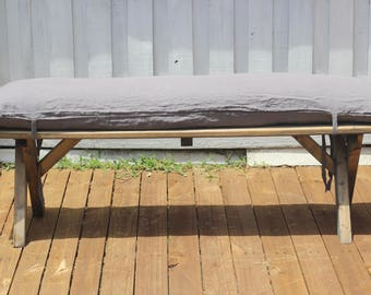 100 linen bench cushion pad cover with feather insert in medium gray