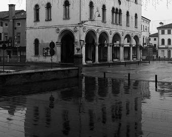 Reflection over the rain in black and white