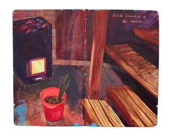 "Fine Art Print of Painting from Artist Sketchbook - ""Finnish Sauna"""