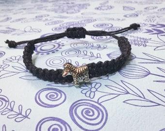 Zebra Bracelet. Black String Macrame Bracelet. Adjustable. Stackable. Men. Women. Boys. Girls. Gift.