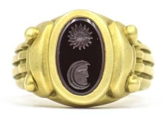 KIESELSTEIN-CORD Sun Moon Garnet Intaglio Ring in 18k Yellow Gold Size 6.5